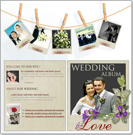 свадебный макет сайта в фотошопе