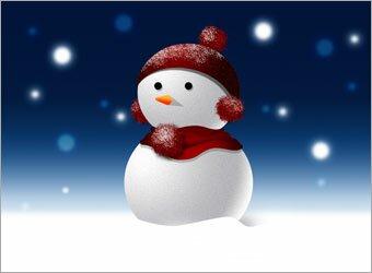 снеговик в фотошоп
