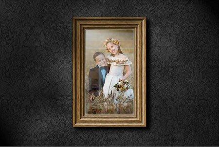фото рамка на стене в фотошопе
