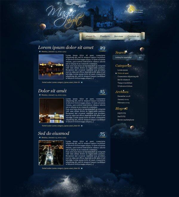 макет сайта волшебной ночи в фотошопе