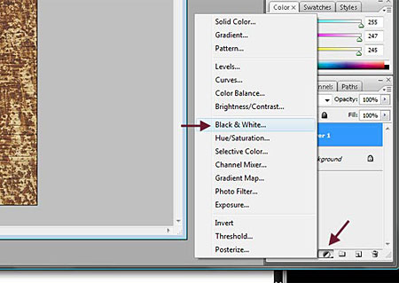 new fill or adjustment layer