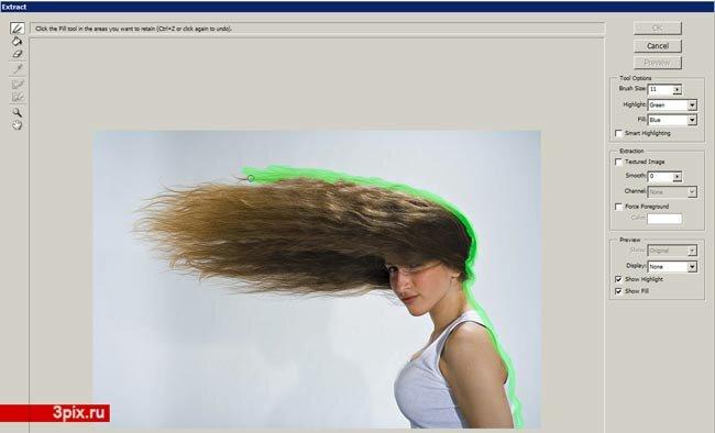 Уроки Photoshop Вырезать волосы с общего фона фотографии